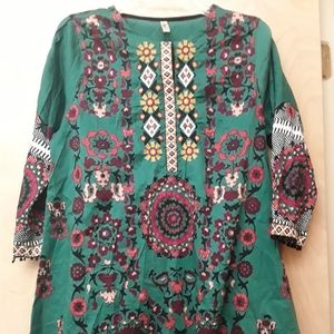 Green Embroidered Tunic Top L Ethnic Outfitters